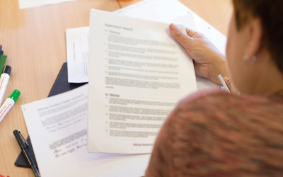 Woman studying documents