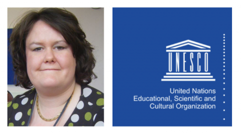 Dr Katharine Jewitt and the logo of the United Nations Education, Scientific and Cultural Organisation