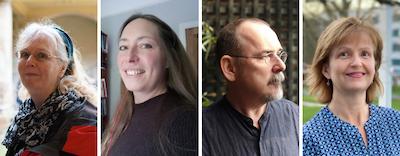 Image shows portraits, side-by-side of (L-R) Professor Rebecca Ferguson, Professor Kristina Hultgren, Professor Peter Keogh, Professor Joan Simons