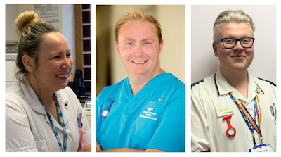 Tryptych-sytle image showing OU nursing students and graduates Lisa Blake, Paul Gardner-Smith and Solomon Jones