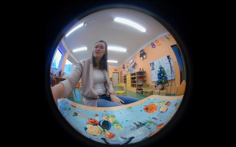 Photograph of Petra taken with a fisheye lens, csptured during the data gathering stage of her PhD.