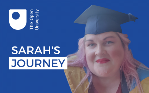 Cutout photograph of Sarah Jones in her graduation cap and gown on a blue background. The OU logo appears in the top left with the words 'SARAH'S JOURNEY' written underneath.