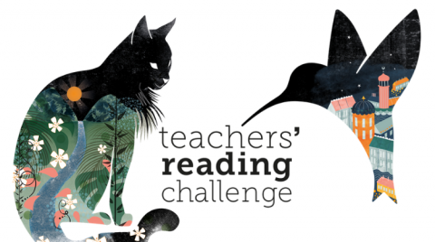 Graphic illustration of a cat and hummingbird around the words (in lowercase) 'teachers' reading challenge'.