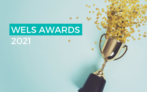 """Photograph of a trophy on its side, spilling star confetti on to a clean, blue background. The text """"WELS AWARDS 2021"""" is overlaid on top of the image."""