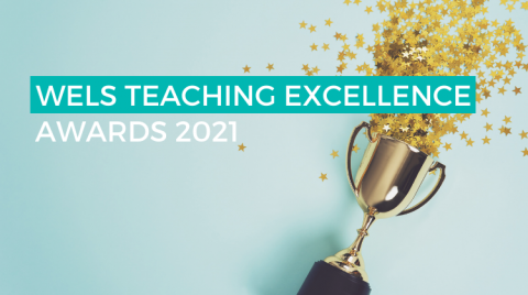 """Photograph of a trophy on its side, spilling star confetti on to a clean, blue background. The text """"WELS TEACHING EXCELLENCE AWARDS 2021"""" is overlaid on top of the image."""